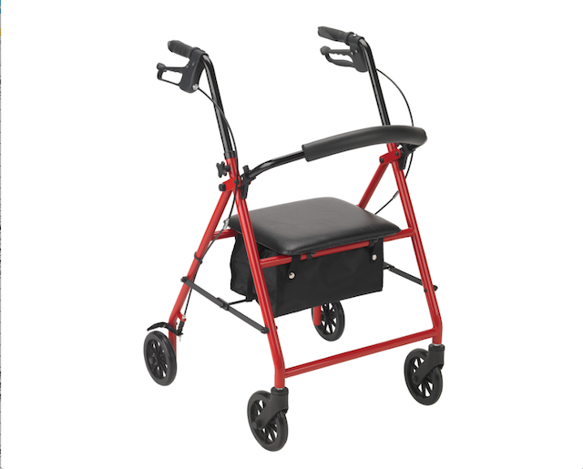 Rollator with 6 Wheels Red